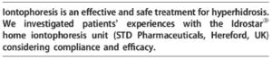études cliniques des laboratoires i2m sur la ionophorèse contre la transpiration excessive